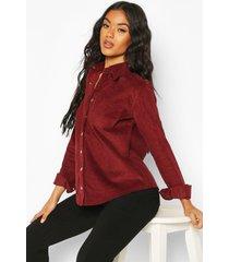 oversized cord shirt, burgundy