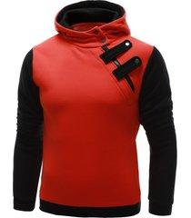 inclined zipper color block hooded long sleeves men's hoodie