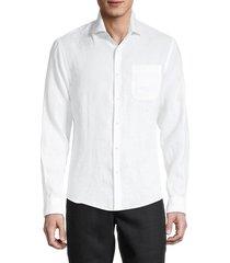 saks fifth avenue men's solid linen shirt - white - size l