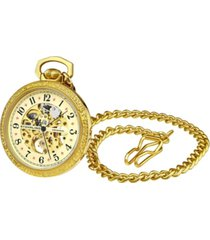 stuhrling women's gold tone stainless steel chain pocket watch 48mm