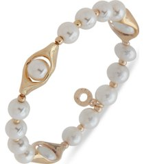 anne klein gold-tone imitation pearl beaded stretch bracelet