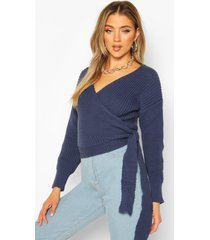 wrap knitted sweater, denim-blue