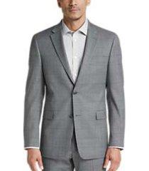 tommy hilfiger gray & blue windowpane slim fit suit