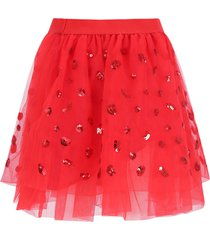 alberta ferretti red girl skirt with sequins