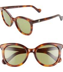 women's moncler 52mm sunglasses - dark havana/ green