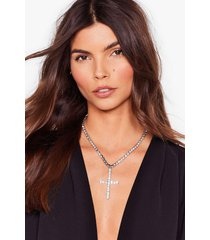 womens don't cross me diamante chain necklace - silver