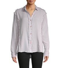 vintage havana women's lace-yoke frayed shirt - size s