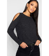 cold shoulder moss stitch sweater, charcoal