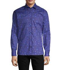 bertigo men's floral-print long-sleeve shirt - navy - size m