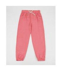 calça infantil pijama jogger com cordão rosa