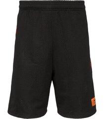 heron preston loose fit knee-length track shorts - black