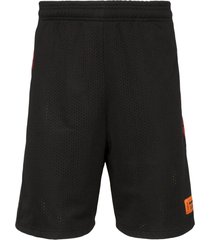 heron preston loose fit knee-length track shorts - black