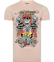 t-shirt korte mouw ed hardy - skull-racer t-shirt dusty pink