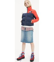 tommy hilfiger women's colorblock puffer jacket red / white / blue - xs