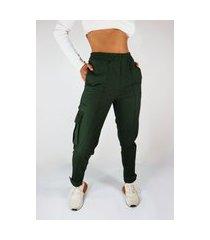 calça cargo sarja camaleão urbano jogger verde