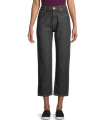 kenzo men's straight cropped jeans - black - size 40 (8)
