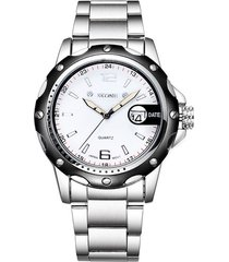 skone 2473 reloj cuarzo casual hombre impermeable blanco
