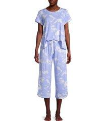 kensie women's 2-piece tie-dye pajama set - blue - size l