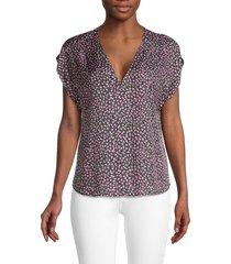rebecca taylor women's floral-print silk-blend top - black combo - size 00