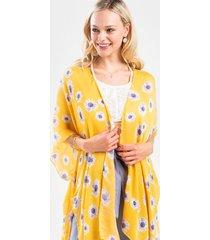 ivonn scattered sunflower kimono - yellow