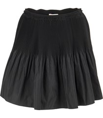 red valentino pleated mini skirt with techno fabric