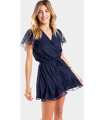 bettie lace godet romper - navy