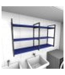 prateleira industrial para lavanderia aço preto mdf 30cm azul escuro modelo ind11azlav