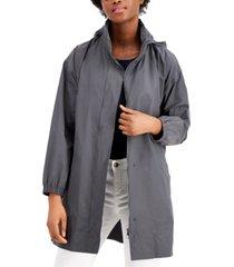 eileen fisher organic stand-collar hooded zip-front coat