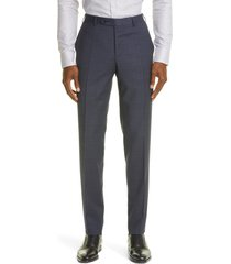 canali trim fit check stretch wool flat front dress pants, size 50 in dark blue at nordstrom