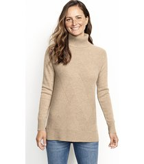cashmere mixed stitch tunic sweater, camel, x large