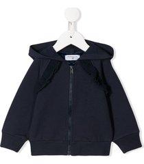 monnalisa ruched-trim zip-up hoodie - blue
