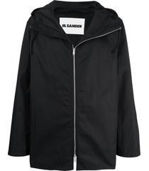 jil sander black cotton coat