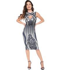 vestido lança perfume midi pedraria off-white/azul-marinho