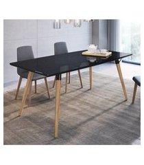 mesa de jantar retangular 4 lugares artesano valentinna 180cm preto