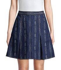 tory burch women's gemini jacquard denim mini a-line skirt - gemini blue - size 8