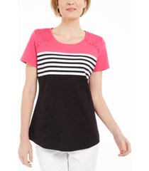 karen scott petite stripe colorblocked top, created for macy's