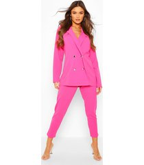 double breasted blazer & trouser suit set, hot pink