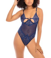 women's unlined open cup teddy with ring and elastic details