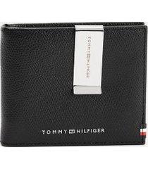 tommy hilfiger men's flag mini card wallet and money clip black -