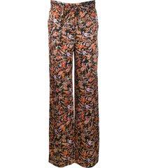 derek lam 10 crosby drawstring waist paisley print pajama pant - black