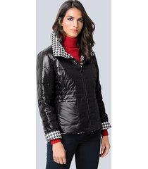 keerbare jas alba moda zwart::wit
