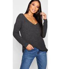 oversized v neck sweater, charcoal
