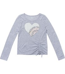 big girls long sleeve ruched side tie graphic tee