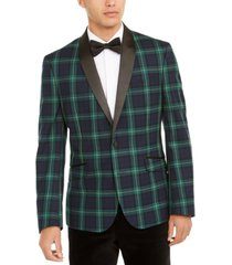 billy london men's slim-fit stretch green/blue plaid dinner jacket