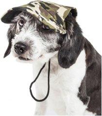 pet life 'torrential downfour' camouflage uv protectant adjustable dog hat cap