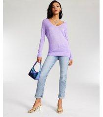 guess sandra dropped-shoulder v-neck ribbed-hem sweater