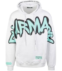 pharmacy industry man white hoodie with graffiti maxi logo