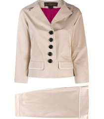 louis vuitton 2000's pre-owned fitted skirt suit - neutrals