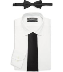 saks fifth avenue men's 3-piece slim-fit dress shirt, bow tie & tie set - white - size 18 36