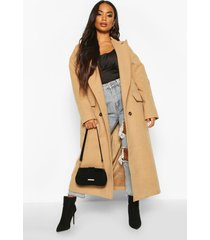 petite wool look double breasted long line coat, camel